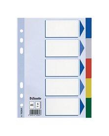 Separatore neutro in PPL 5 tasti colorati f.to A5 ESSELTE