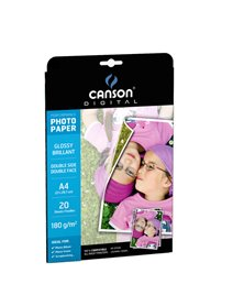 CARTA INKJET A4 180GR 20FG PHOTO GLOSSY FRONTE/RETRO PERFORMANCE CANSON