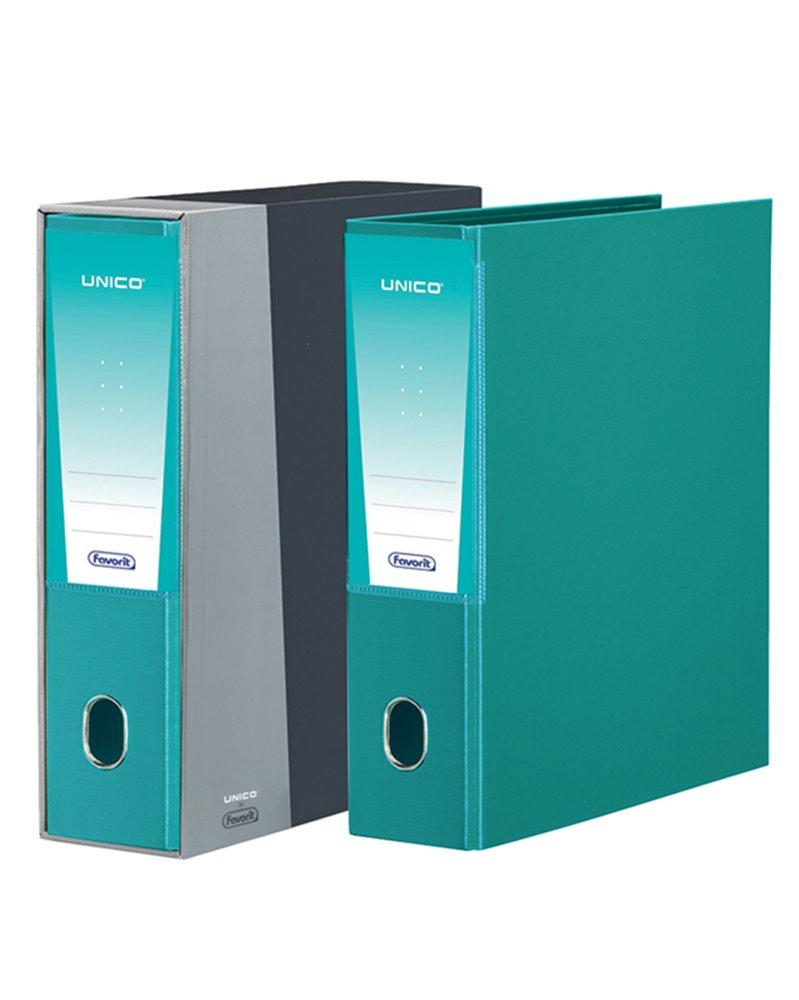Registratore Unico c/custodia verde acqua dorso 8cm f.to protocollo Favorit