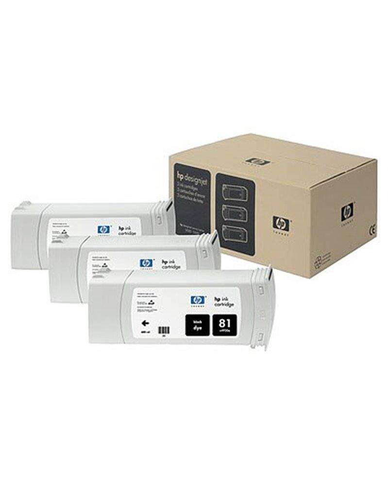 CONFEZIONE MULTIPLA 3 INCHIOSTRI DYE HP N.81 NERO 680ML/CAD.