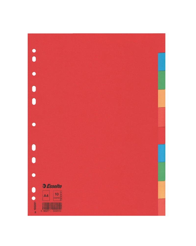 Separatore economy in cartoncino 160gr colorato 10 tasti A4 ESSELTE